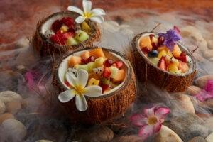 Hawaiian fruits in coconut cups