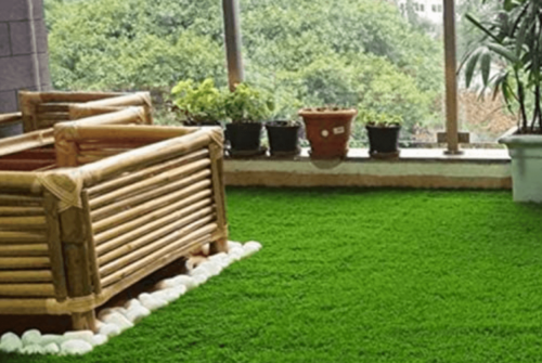 A lawn with some storage space.