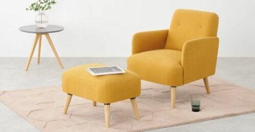 A modern yellow chair.
