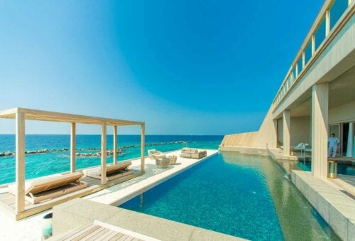 A pool with an ocean view.