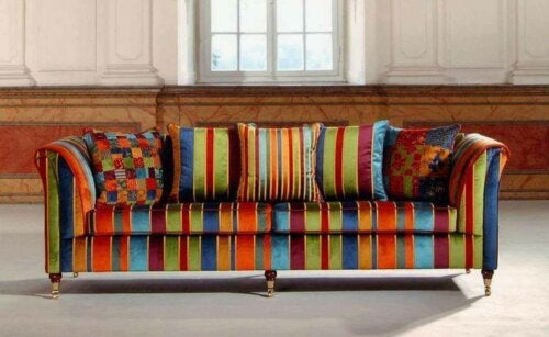 A very bright bohemian sofa.