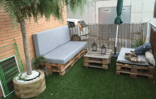 An outdoor seating area.