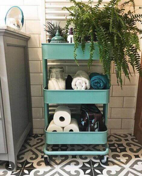 Stacked storage bins in the bathroom