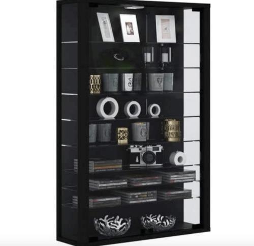 A black display cabinet.