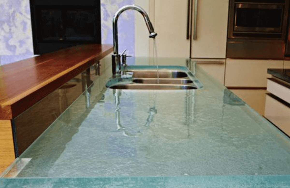clean kitchen counter made of glass
