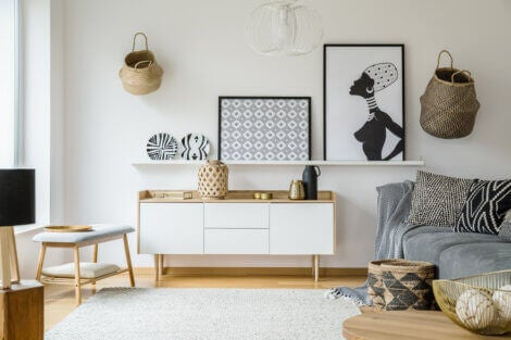 a well organized room with white wall