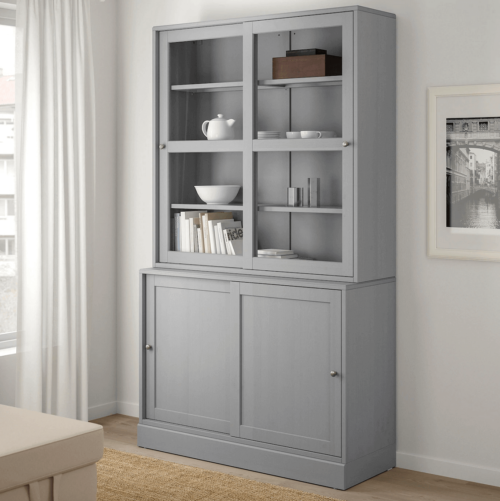 A gray display case in a room.