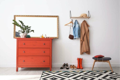 Consider a mirror when decorating your entryway.