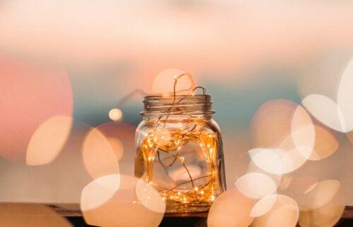 Lights inside a jar.