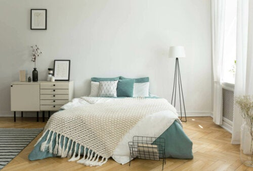 Sage in a bedroom.