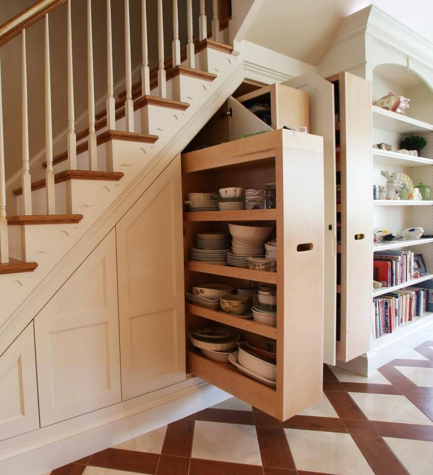 The space under the stairs is an awkward space in design.