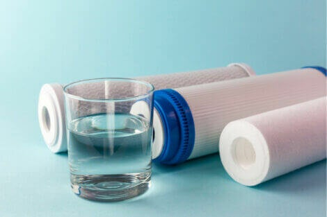 Glass of water with water filters