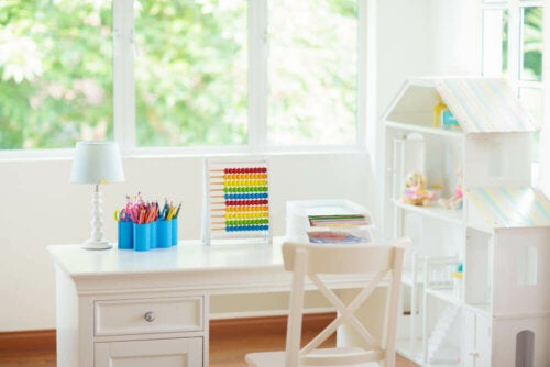 A white study space for children.