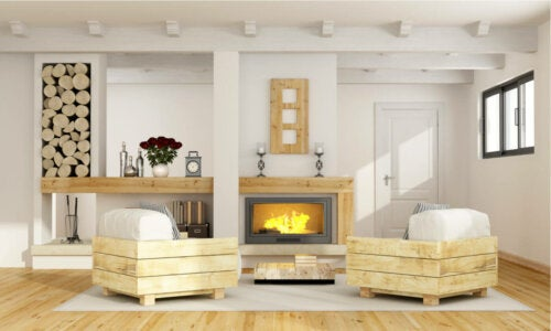 A modern rustic look for the living room.