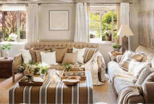 A beige summer living room.