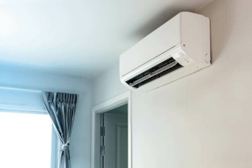 A ductless air conditioner on the wall.