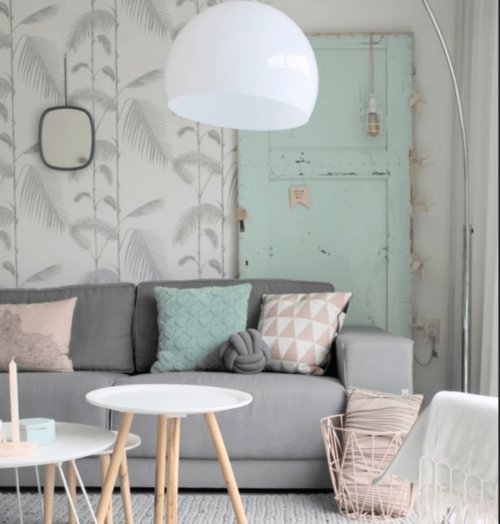 A room with pastel colors.