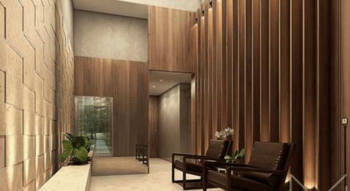 A simple apartment building lobby.