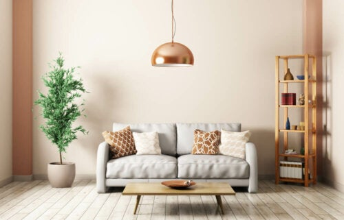 A simple living room with a lamp.
