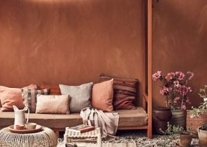 A terracotta living room.