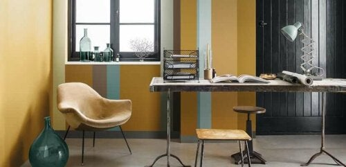 A yellow office space.