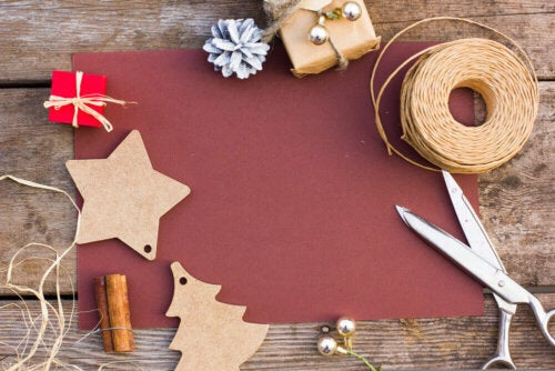 Some materials for Christmas crafts.