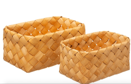 Two squared woven baskets.