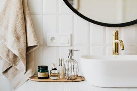 Beautiful bathroom accessories including perfune bottles