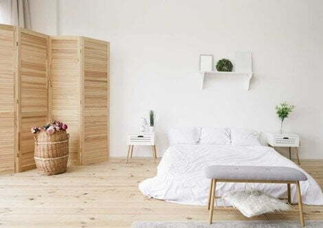 Room with wood floors, and white walls