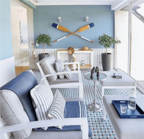 A nautical themed living room.