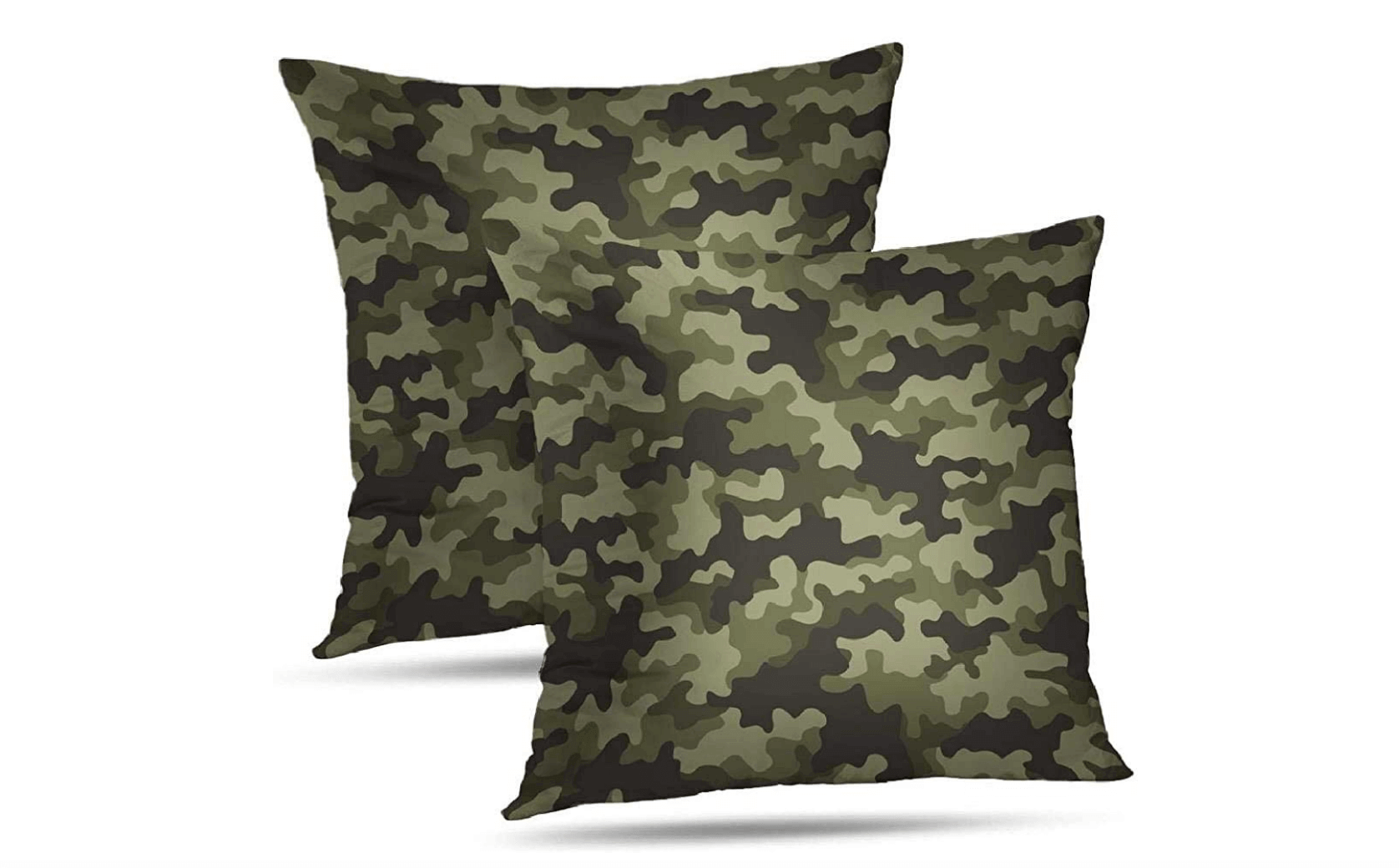 Two pillows with camouflage print