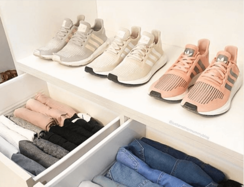 You can stay organized in the bedroom by organizing your closet.