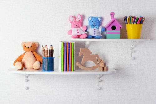 Shelves in a child's room.