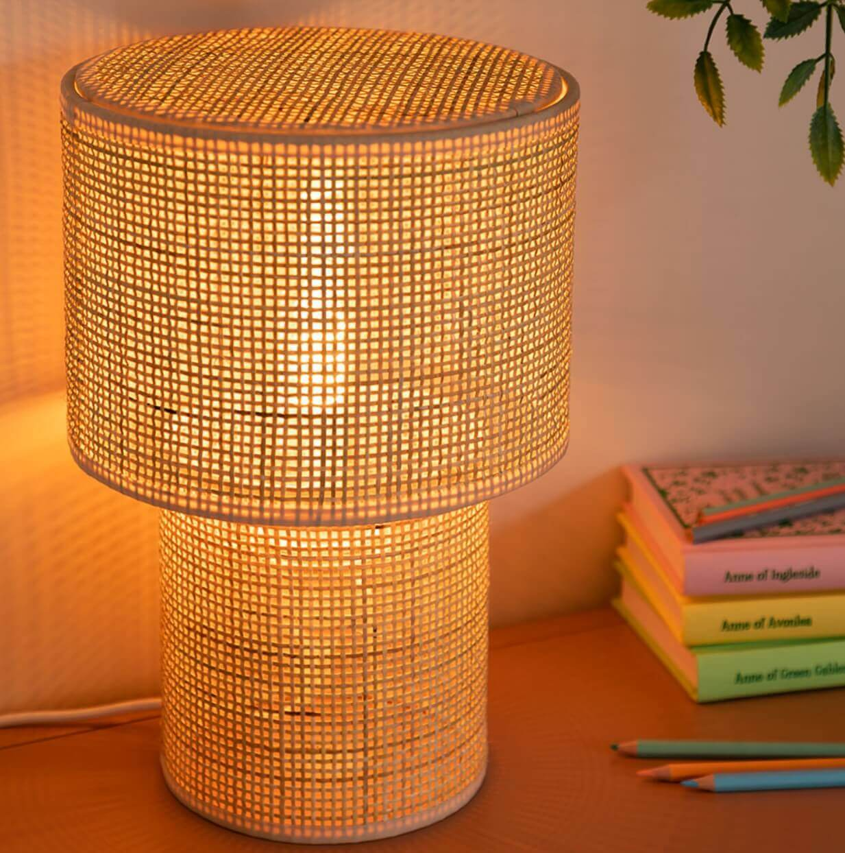A rattan table lamp.