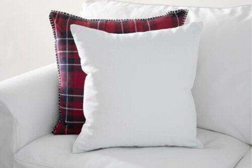 A tartan cushion.