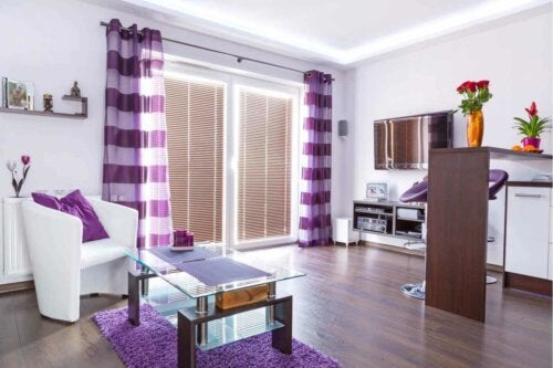 A purple living room.