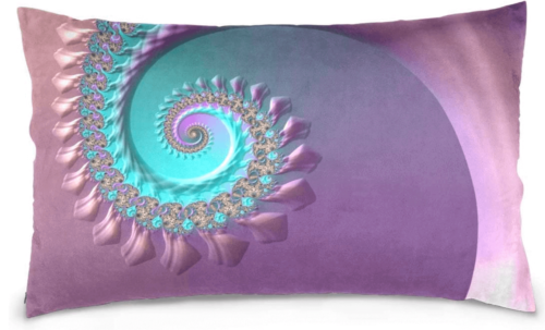 A purple pillow with some spirals.