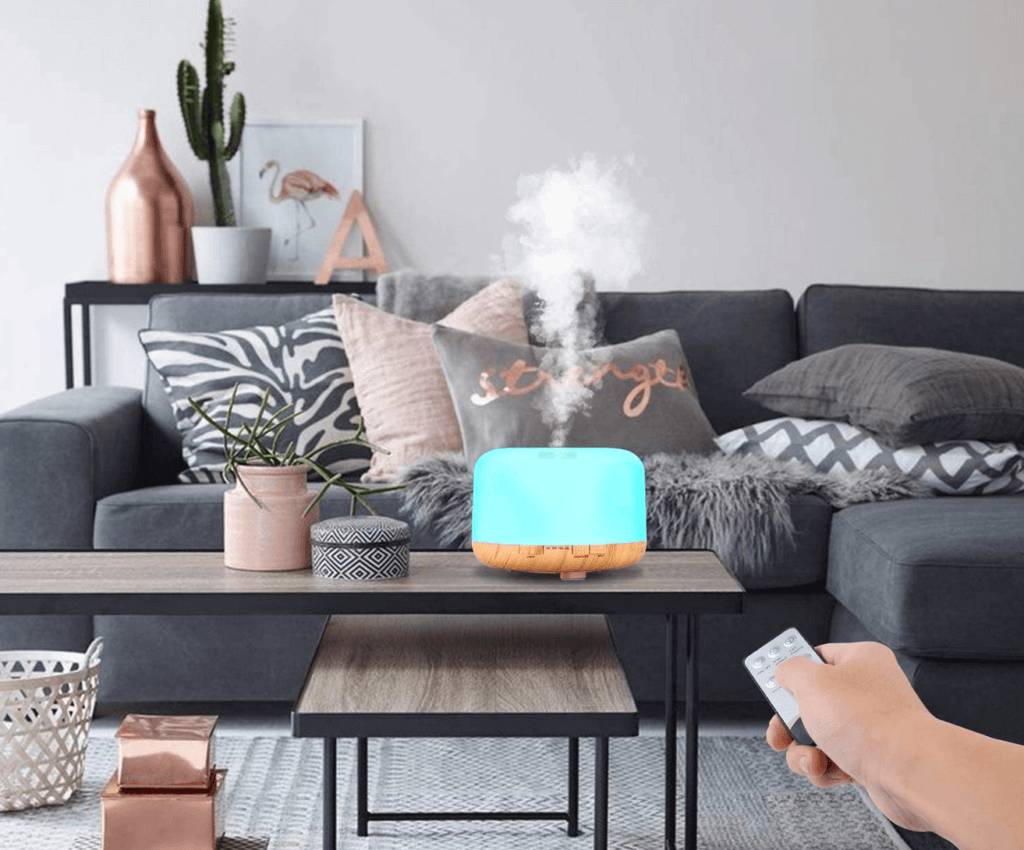 A humidifier in a living room.