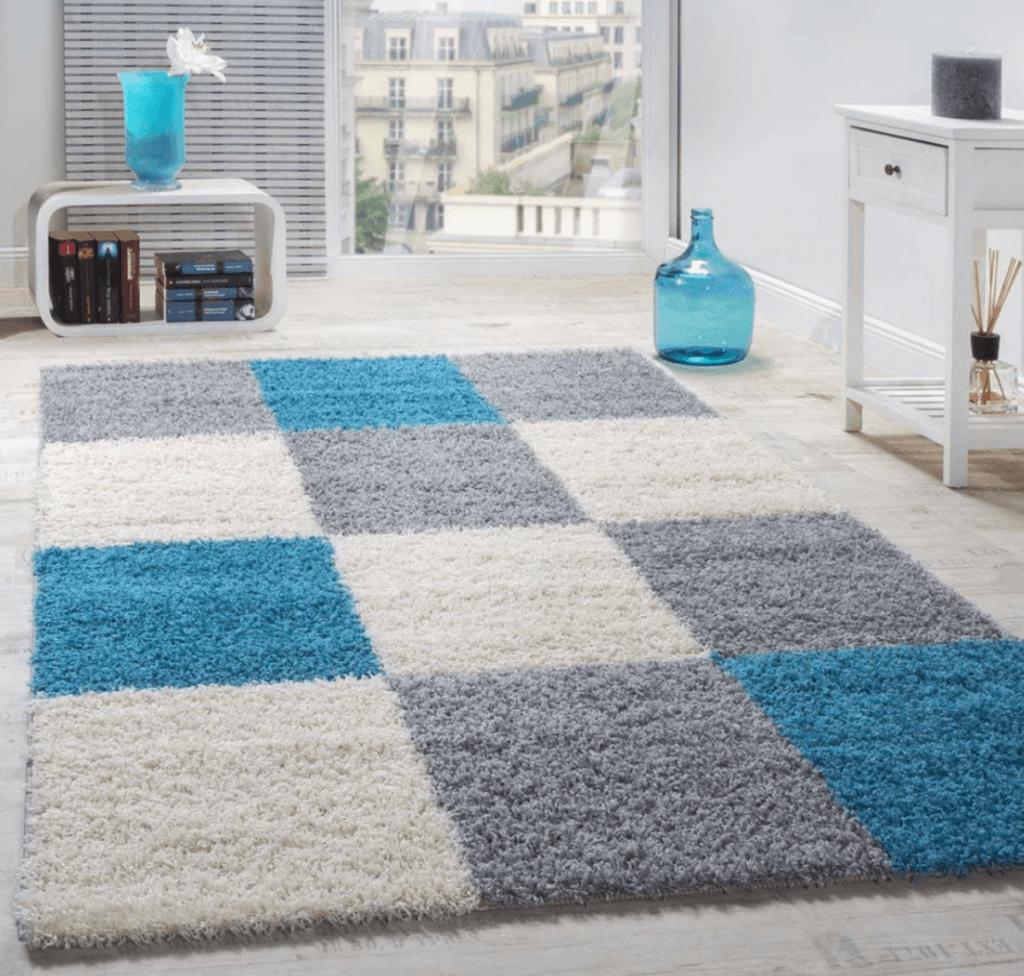 A high-pile shaggy rug with a geometric design.