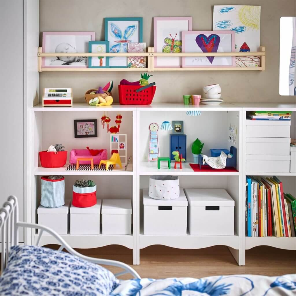 Build a bookshelf for your children's artwork, toys, and books.