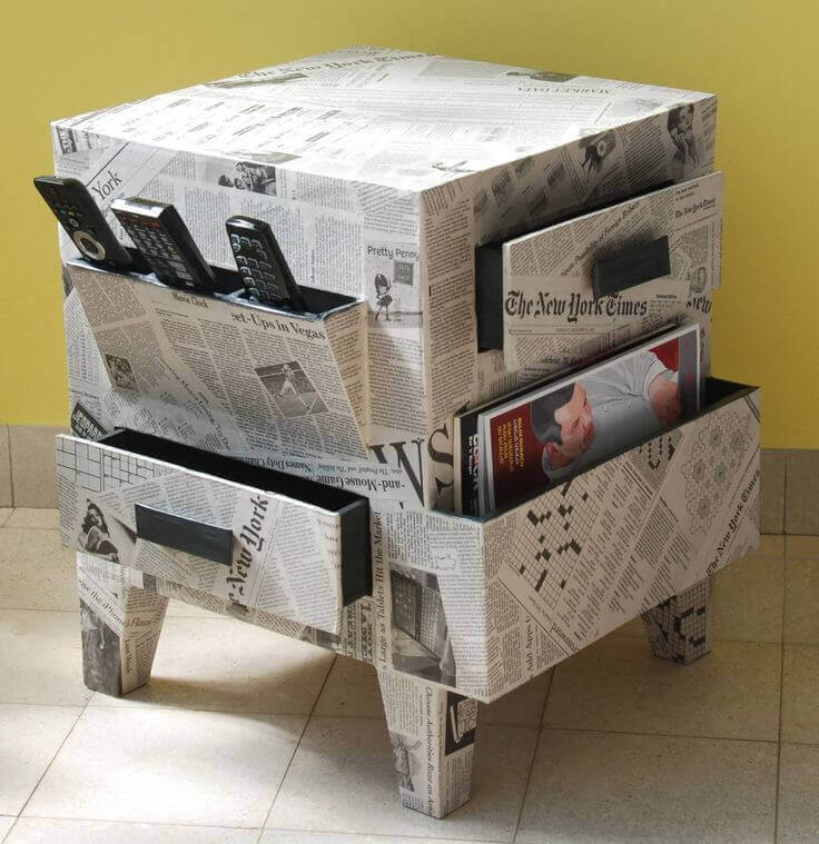 Decorate your old furniture with newspapers.