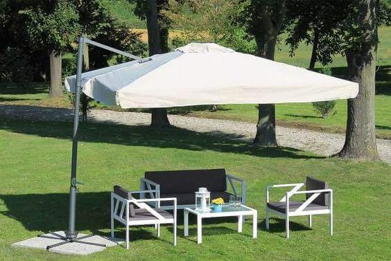 Sit outside under a parasol with your family and friends.