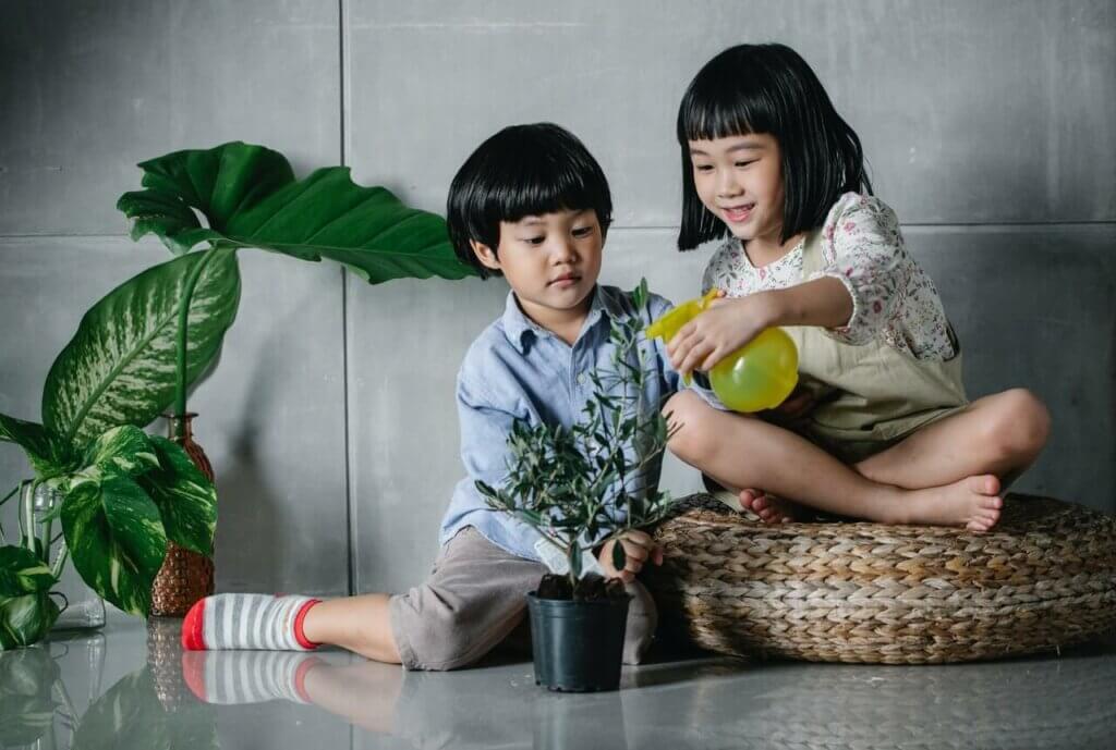 Children and plants.