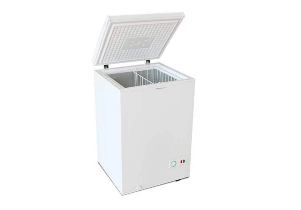 A white freezer.