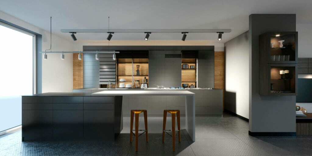 A kitchen can have paneled and exposed appliances.