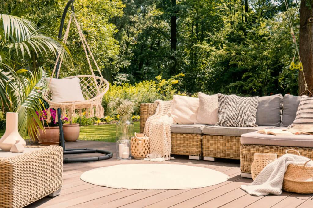 An elegant garden furniture set.