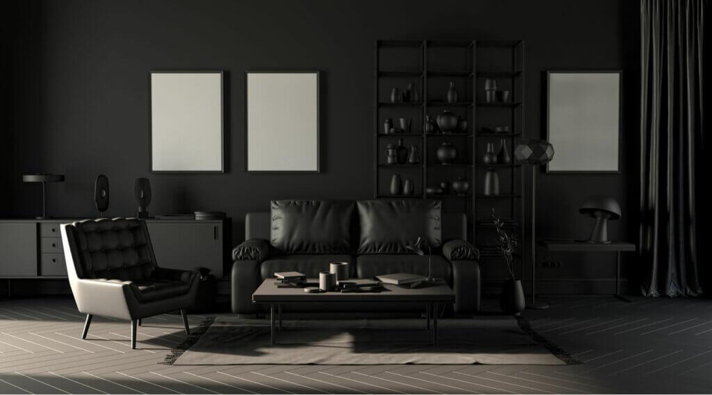 A dim living room.
