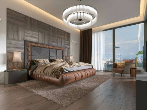 A bedroom with sustainable lighting.