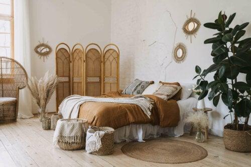A boho-chic bedroom.