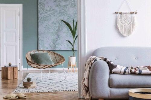 A home with a boho-chic rug.